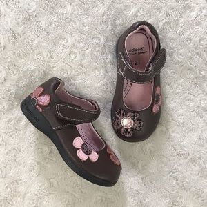 Pediped Flex Shoes Brown Pink Flowers Size 5.5 21